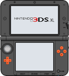 Nintendo 3DS XL [orange x black] by BLUEamnesiac