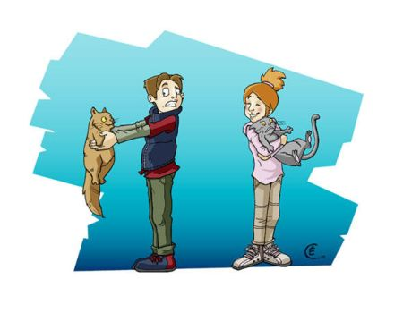 Child and Cat by damoisellemimi