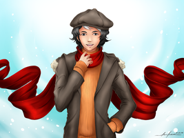 MM SS: Red Scarf in Winter by lacelazier