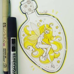 Inktober 2018 Day 4 ::Fairy in a Bottle:: by YamPuff