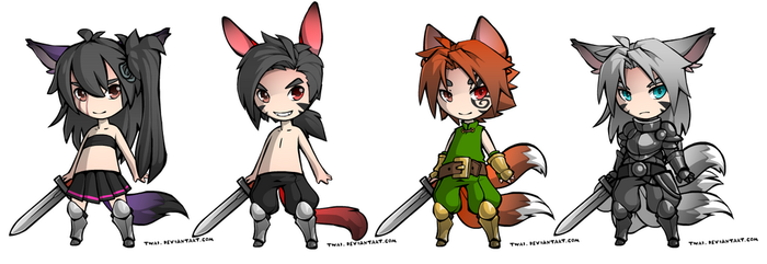 Fox Chibi Warriors Adopt (CLOSED) by NiteOwlX