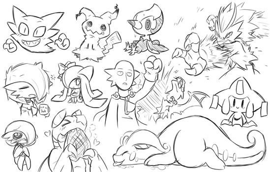 Pokemon Doodles by RakkuGuy