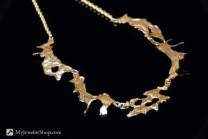14kt Gold Freeform Necklace by Sketchy-Stories