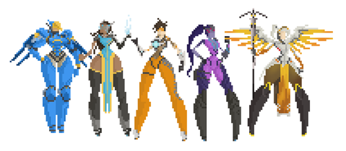 Overwatch Entire Cast of Female characters 8bit by izak1399