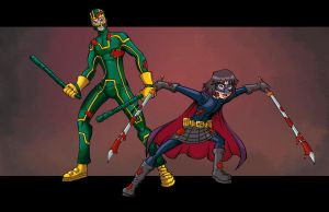 Kick-Ass and Hit Girl by Tdubsart2012