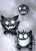 #092 Gastly, #093 Haunter, #094 Gengar by fallsomnia