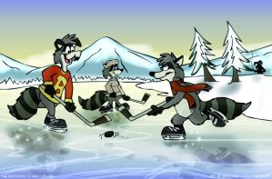 Raccoons On Ice by FreyFox