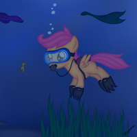 Scootaloo Scuba-diving by Zonra