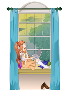 Akane on Window, Ubunchu by doctormo