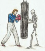 Boxer Bowie punching a sandbag by gagambo