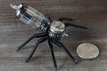 Steampunk Spider Black by CatherinetteRings