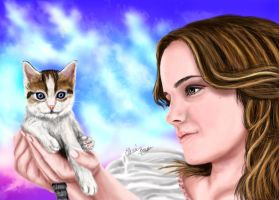 Emma Watson and her kitty by Sondim