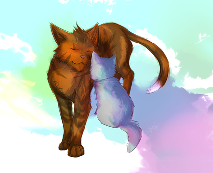 Warriors: like a big brother(Alderpaw-Twigkit) by Marshcold