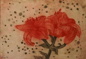 Collagraph: Red lily by Henu96