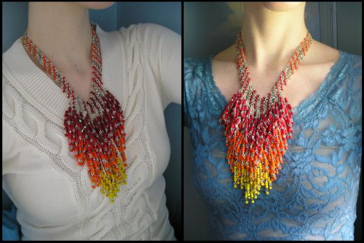 Fire Dangles necklace worn by HeddaLee