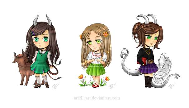 Earth chibis. by ArtelleArt