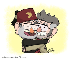 Chibi Stan and Ford hug by ArtsyMeeShee