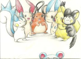 Pikaclone nuzzle party by Mon311