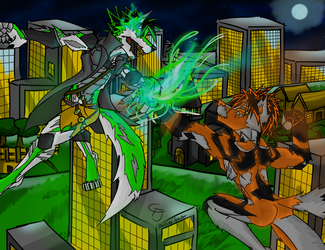 Battle of the Nephilim (clothed version?) by DestinySpider