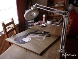 Plumes in my work studio by SybileArt