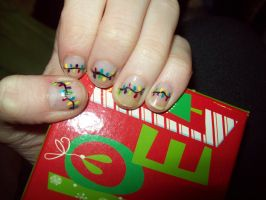Christmas light nails by ffishy21