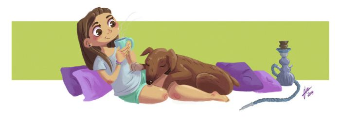 Girl and the dog by Irina-Hirondelle