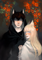 The wolf with his little fox by ttteacup