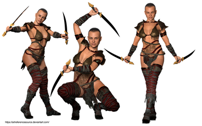 Free Stock PNG:  Warrior in three poses by ArtReferenceSource
