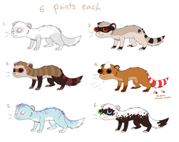 Ferret Adoptables -CLOSED- by X--O