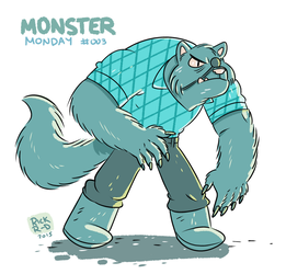 Monster Monday 003 -Buffed Eye patched Werewolf by rickruizdana