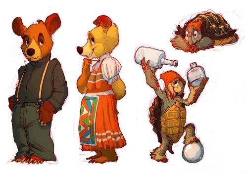 Bears n' Tortoises and BRIGHT RED by Rowkey