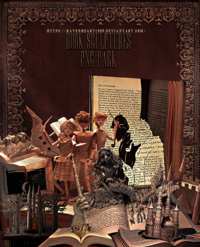 Book sculptures png pack by RavenHeart1989