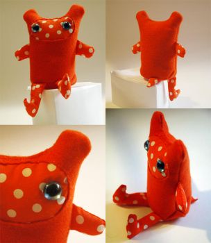 Orange Polka Dot Monster by treesofmachinery