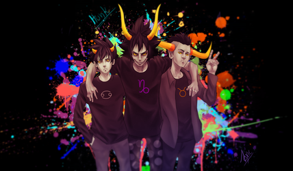 Homestuck: Karkat, Gamzee and Tavros by proXyOdeaTh