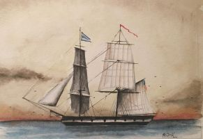 Brigantine ship watercolor painting by KOverbeck