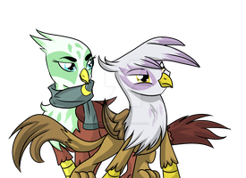 Two Griffon Friends by FlairNightz
