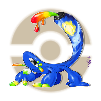 Geckonismo, the Mural Fakemon by Aalacer