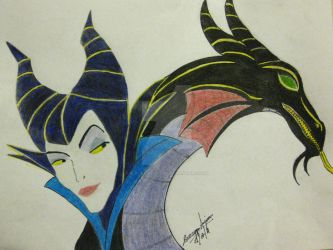 Maleficent and Dragon by Black-Velvet-89