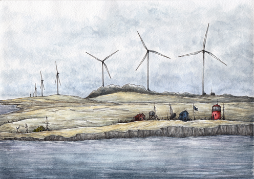 Wind Over The Coast Watercolor by AlexanderCrW