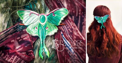 LUNA MOTH HAIR BARRETTE - leatherwork - for order by SilverclockCostumes