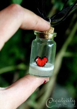 8 Bit Heart Zelda Vial Necklace by CreativityFTCorrupt