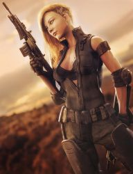 A New Day, Post-Apocalyptic Soldier Woman 3D-Art by shibashake