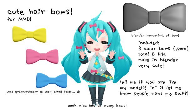 [mmd DL] hair bow! [by me!] by kawaii-noodle-boy