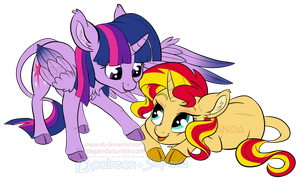 Twilight Sparkle and Sunset Shimmer by StePandy