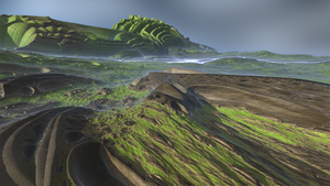 Mountains on Mandelbox planet by KrzysztofMarczak
