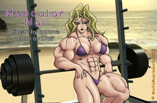 Muscular Mai COLOR by WolfsMuscleGirls