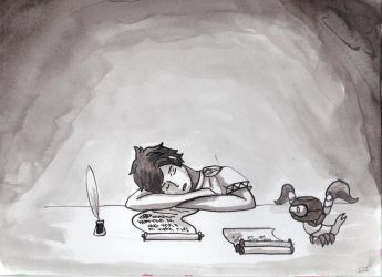 Inktober#7 'Exhausted' by Skallhati