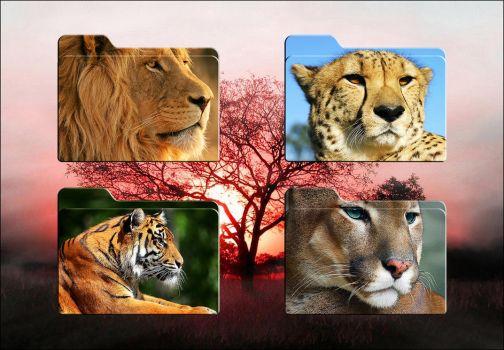 Big Cats HD Folder Icons (Mac Only) by Scottydog332