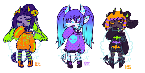 Halloween Sweater Demons o6. by bitterowls