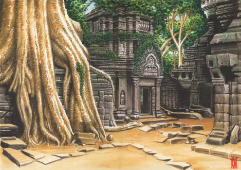 Angkor Wat temple by toniart57